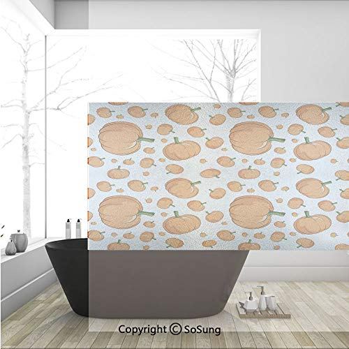 3D Decorative Privacy Window Films,Halloween Inspired Pattern Vivid Cartoon Style Plump Pumpkins Vegetable Decorative,No-Glue Self Static Cling Glass film for Home Bedroom Bathroom Kitchen Office 36x2 -