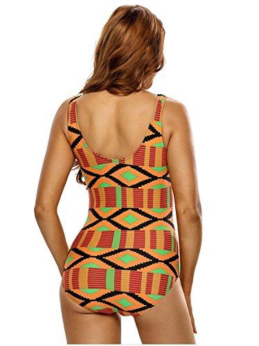 HZZ Un cabestro pieza para mujer del traje de baño ropa de playa de Monokini de cuello V yellow + green