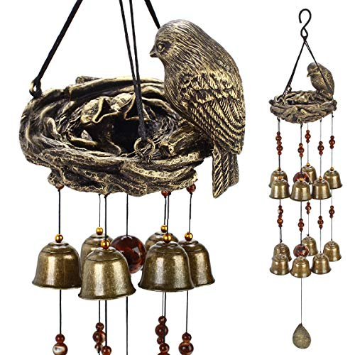 (YLYYCC? New Birds and nest Wind Chime 12pieces Bells Wind Chime Bronze Color)