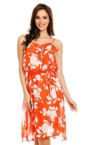 Mia Suri transparente tiras de verano playa Bikini Cover Up vestido suelto para mujer Orangey-Red Floral Print