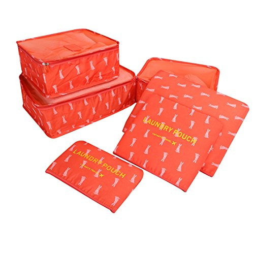 Travel Packing Organizers - Clothes Cubes Shoe Bags Laundry Pouches For Suitcase Luggage, Storage Organizer 6 Set Color Red from TRAVELIN