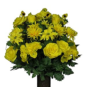 Deep Yellow Rose and Hydrangea Mix Artificial Bouquet, Featuring The Stay-in-The-Vase Design(c) Flower Holder (LG1215) 77