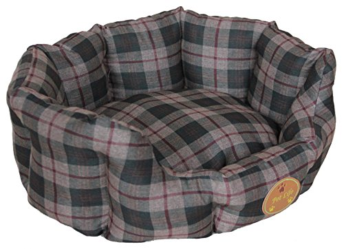 PET LIFE 'Wick-Away' Wick-proof Nano-Silver and Anti-Bacterial Water Resistant Rounded Circular Pet Dog Bed Lounge, X-Small, Olive Green Plaid