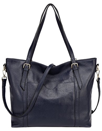Jair Navy Blue Large Shoulder Handbags Pebbled Leather Designer Women Tote Purse