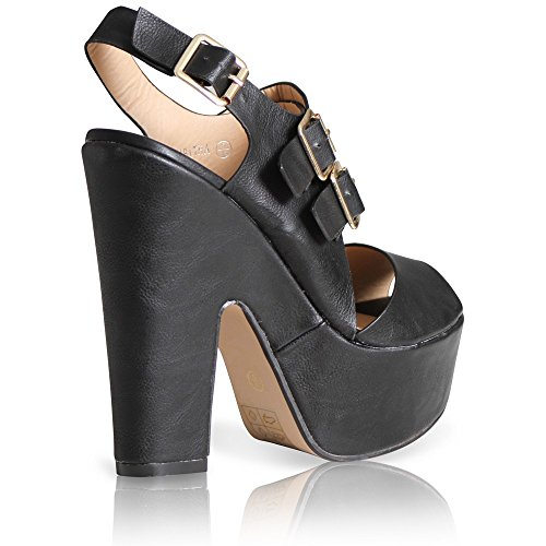 WOMENS BLOCK HIGH HEEL LADIES SHOES BUCKLE STRAP OPEN TOE GOLD ANKLE SIZE 3 Black Pu lTUXdT