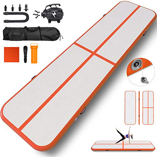 Happybuy 10ft 13ft 16ft 20ft 23ft 26ft 30ft Air Track 8 inches Airtrack 4 inches Inflatable Air Track Tumbling Mat for Gymnastics Martial Arts Cheerleading Tumble Track with Pump Orange 10ft 40x4in