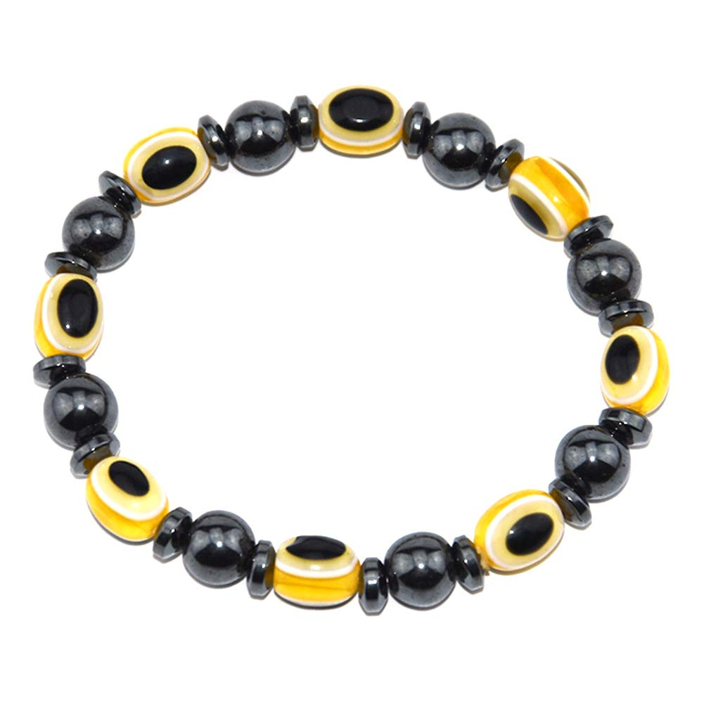 Yellow Walkretynbe Charms Ladies Jewellery Pendent Elegant Hand Chain Bracelet for Women Magnetic Bracelet Unisex Lose Weight Hematite Eyes Healing Beads Stretch Bangle