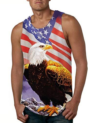 Cutemefy Mens 3D Digital Print Sleeveless Vest Shirt USA Flag Graphic Casual Under Waist Tank Top Small