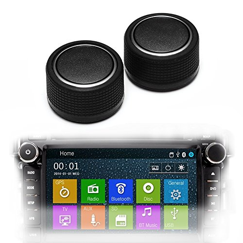 Direct Replacement GM 22912547 Rear Radio Volume Control Knob Button Pair Chrome for 07-14 Chevrolet Chevy GMC Buick Cadillac Premium Crossover SUV,Pickup Model (Pack of (Chrome Radio Knob)