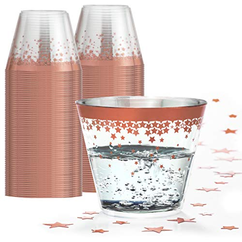 Elegant Rose Gold Rimmed 9 Oz Clear Plastic Tumblers Fancy Disposable Cups with Rose Gold Rim Prefect for Holiday Party Wedding and Everyday Occasions 100 Pack - Wonder Sky ()