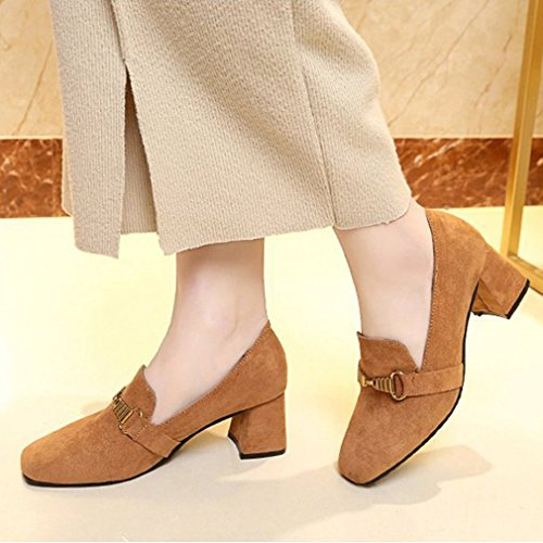 Dames Klassiek Pumps Loafers Vierkante Teen Instapper Blok Hakgesp Oxford Jurk Penny Loafer Pump Bruin