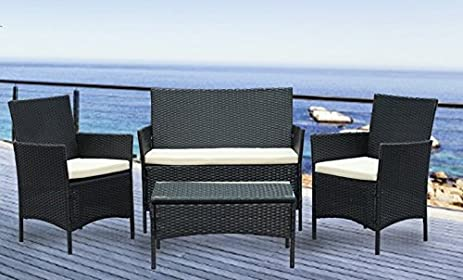 IDS Home Complete Compact 4pcs White Cushioned Coffee Table Outdoor/Indoor  Patio Garden Lawn Furniture