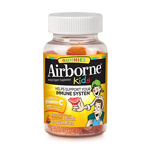 Airborne Kids Gummies Vitamin C Immune Support Supplement, Assorted Fruit Flavors, 42 ct (Pack of 11) by Airborne