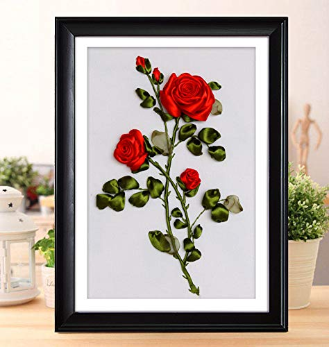 Ribbon embroidery Kit,Fanryn 3D Silk ribbon embroidery Red Roses pattern design Cross Stitch Kit Embroidery for beginner DIY Handwork Home Decoration Wall Decor 50x40cm (No frame)