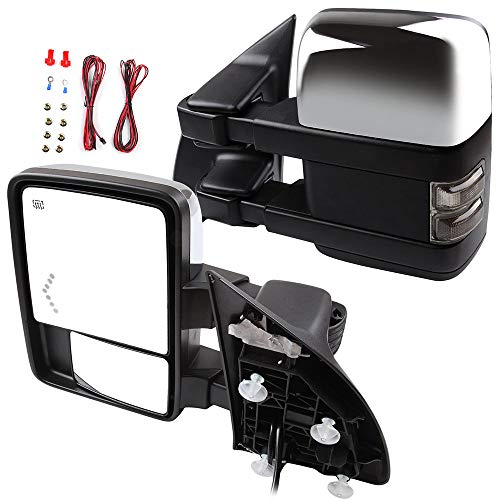 ECCPP Side Mirrors Compatible for Ford Super Duty Series, Turn Signal Power Heated Puddle Light Arrow Led Signal Light Chrome Tow Mirror for F250 F350 F450 F550 Super Duty Series 2003-2007