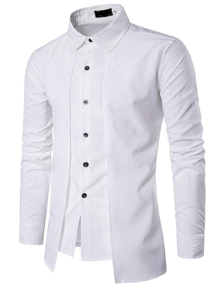 YaYu Men Slim Solid Color Business Dress Long Sleeve Button Fake Two Piece Dress Shirt