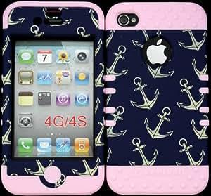 Funda Bumper para iPhone 4, 4g y 4S Anchor Patrón Plástico Duro Snap sobre rosa Gel de silicona