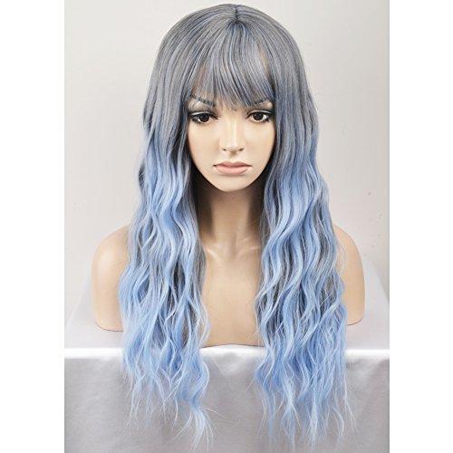 dark blue and light blue wig - 5