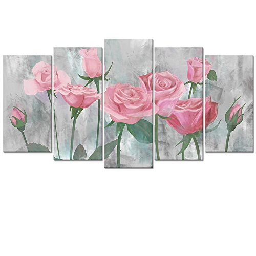 Visual Art Decor 5 Panel Flowers Wall Decor Retro Pink Rose Painting Picture Printed on Canvas Gallery Wrap Floral Prints Art Living Room Bedroom Wall (01 Pink, L-60 x H-32)