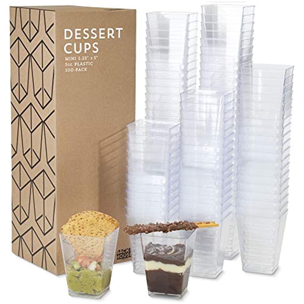 Great /& 100 Pack 5 Oz Tall Square Clear Plastic Dessert Tumbler Cups Spoons