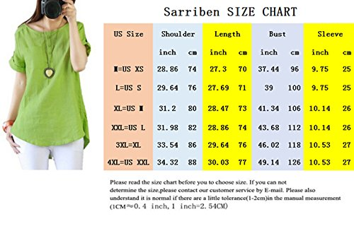 062fc07c6c1d9 Sarriben Womens Casual Loose Cool Linen Cotton Short Sleeve Shirt Blouse  Tops