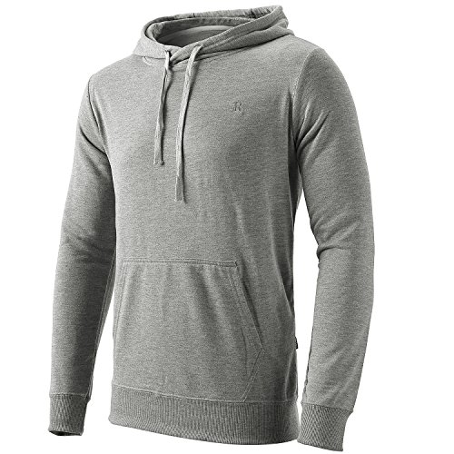 Chest Pocket Lightweight Pullover - Men's Long Sleeve Lightweight Pullover Hoodie Top with Pocket Light Gray XL