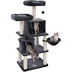 "SONGMICS Multi-Level 60"" Cat Tree with Sisal-Covered Scratching Posts, Plush Perches, Basket and 2 Condos, Cat Tower Furniture - for Kittens, Cats and Pets - Smoky Gray UPCT90G"