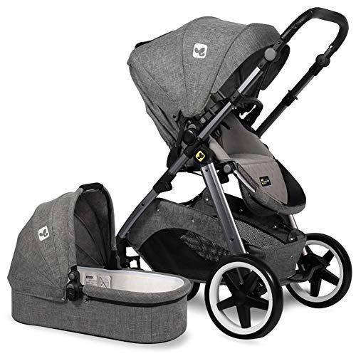 SJZQ Lightweight Baby Stroller Convertible Reversible Pram Newborn and Toddler Baby Carriage 5984,Gray
