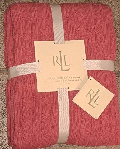 RALPH LAUREN CLASSIC Salmoncoral Color COTTON Cable KNIT THROW Amazing Coral Colored Throw Blanket