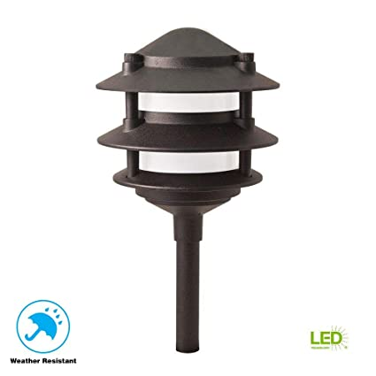 Hampton Bay Low Voltage LED Black 3-Tier Metal Path Light - Lasts Up to