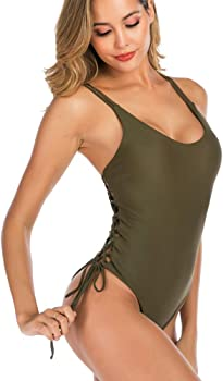 02973a72197 Sexy one Piece Swimsuit Fashion Women Swimwear lace up Bathing Suit high  Cut Monokini Beachwear