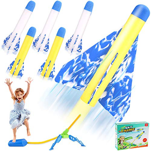 MagicWe Jump Toy Rocket Launchers for Kids Sturdy Stomp Launch Includes 6 Rockets Foam Rockets Play Rocket Soars Up to 100 Feet + Fun Outdoor Toy for Kids - Gift Toys for Boys and Girls Age 3+ Years