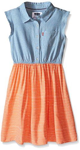 Sleeveless Girls Pique - Levi's Big Girls Beach Picnic Short Sleeve Dress, Desert Flower, Large