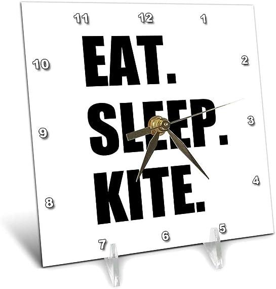 3dRose dc_180416_1 Eat Sleep Kite Kitesurfing Kiteboarding Kite Surfer Kite Boarder Surf Desk Clock, 6 x 6