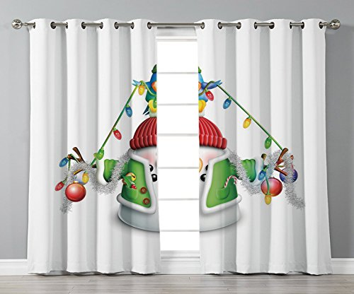 Thermal Insulated Blackout Grommet Window Curtains,Snowman,Cartoon Whimsical Character with Christmas Garland Blue Bird Various Xmas Elements Decorative,Multicolor,2 Panel Set Window Drapes,for Living