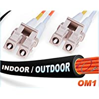 150M OM1 LC LC Fiber Patch Cable | Indoor/Outdoor Duplex 62.5/125 LC to LC Multimode Jumper 150 Meter (492.12ft) | Length Options: 0.5M-300M | FiberCablesDirect - Made In USA | ofnr lc-lc in/outdoor