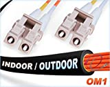 75M OM1 LC LC Fiber Patch Cable | Indoor/Outdoor Duplex 62.5/125 LC to LC Multimode Jumper 75 Meter (246.06ft) | Length Options: 0.5M-300M | FiberCablesDirect - Made In USA | ofnr lc-lc mmf in/outdoor