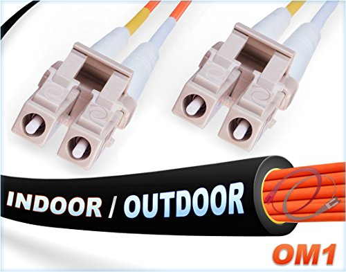 FiberCablesDirect -30M OM1 LC LC Fiber Patch Cable | Indoor/Outdoor 1Gb Duplex 62.5/125 LC to LC Multimode Jumper 30 Meter (98.42ft) | Length Options: 0.5M-300M | 1/10g sfp 1gbase mm ofnr Black lc-lc