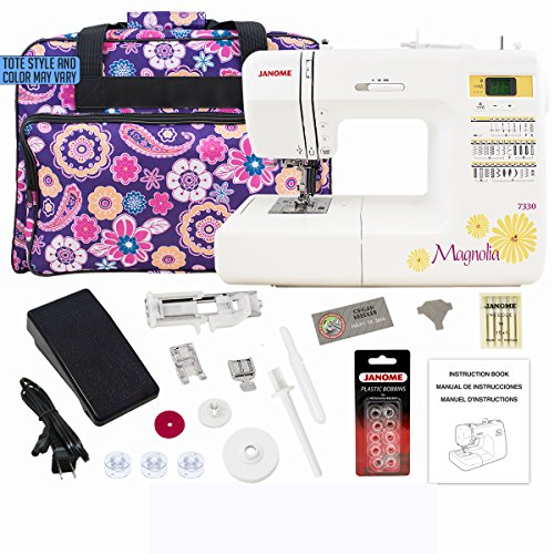 Janome 7330 Computerized Sewing Machine Bundle with Purple Tote, One 10-Pack Janome Bobbins, One Pack Size 14 Needles by Janome ()
