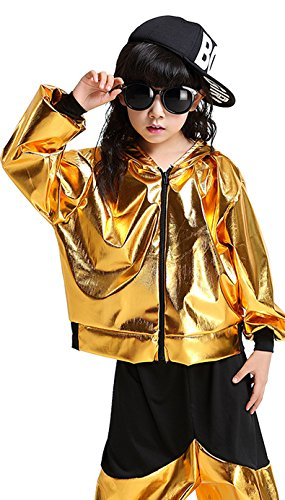 [La moriposa Unisex Kids Hip-hop Jazz Performance Costumes Dancing Halloween Coat of Paint Hooded Long Sleeve Pants Set] (Jazz And Hip Hop Costumes)