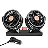 ChiTronic® Dual Head Rotatable Car Vehicle Air Cooling Fan - Dashboard & Console Stick-On, A/C Quick Cooling, Smoke Smell Ventilation, 2 Speed Control, 1.8M Cord (24V)