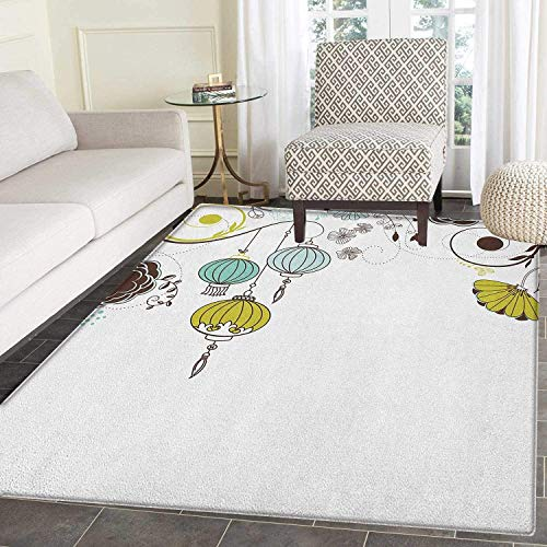 Lantern Anti-Skid Area Rug Abstract Expression of Coming of New Year in China Vibrant Colors Door Mat Increase 4'x5' Apple Green Sky Blue White ()