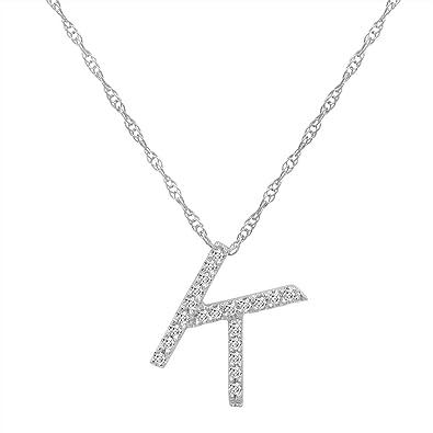 Amazon 14k white gold diamond k initial pendant 16 necklace 14k white gold diamond quotkquot initial pendant aloadofball Choice Image