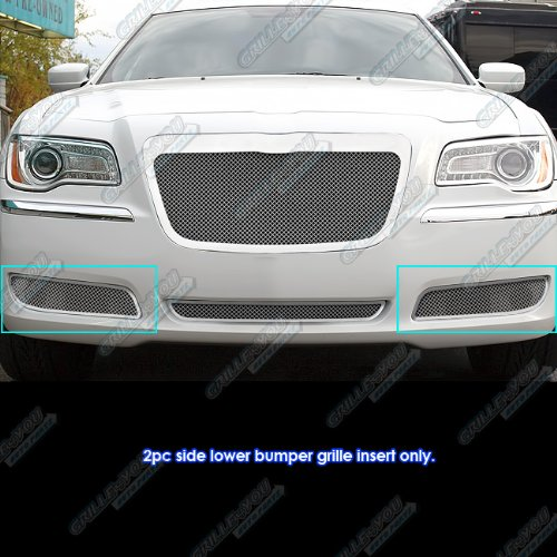 (APS Fits 2011-2014 Chrysler 300/300C Fog Light Stainless Steel Mesh Grille Grill #R76302R)