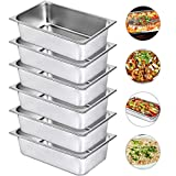 Mophorn 6' Deep Steam Table Pan Full Size 21 Quart Stainless Steel Anti-Jam Steam Table Pan Set of 6 Food Pans