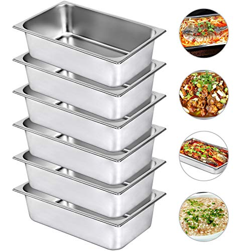 Mophorn 6 Inch Deep Steam Table Pan Full Size 21 Quart Stainless Steel Anti Jam Steam Table Pan Set of 6 Food Pans (Stainless Buffet Pan Full)