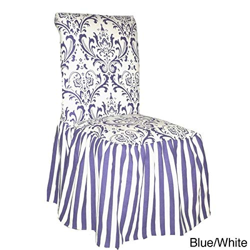 (Classic Slipcovers Damask and Stripe Dining Chair Slipcover (Set of 2) Blue)