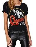 Darceil Women's Black Short Sleeve Rock Band Queen Print T Shirt Top (M, Black)