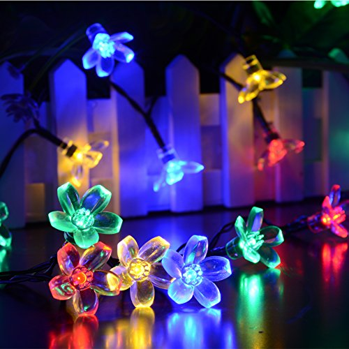 Dephen Solar Christmas String Lights 22ft 50 LED Cherry Blossom Waterproof Solar Powered Fairy Flower Lights for Halloween Indoor Outdoor Party Wedding Patio Garden Decorations (Multi-color) (Outdoor Spring Decorations)
