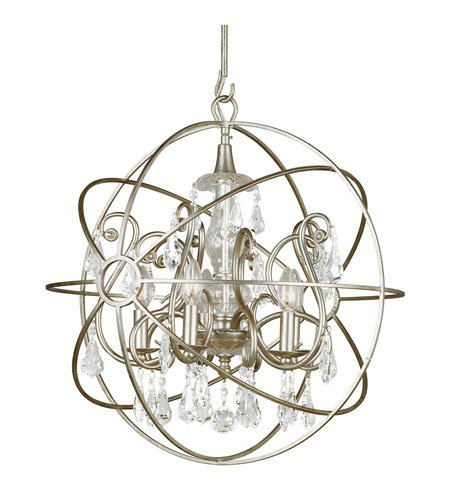 - Chandeliers 5 Light with Olde Silver Clear Swarovski Strass Wrought Iron 22 inch 300 Watts - World of Lighting